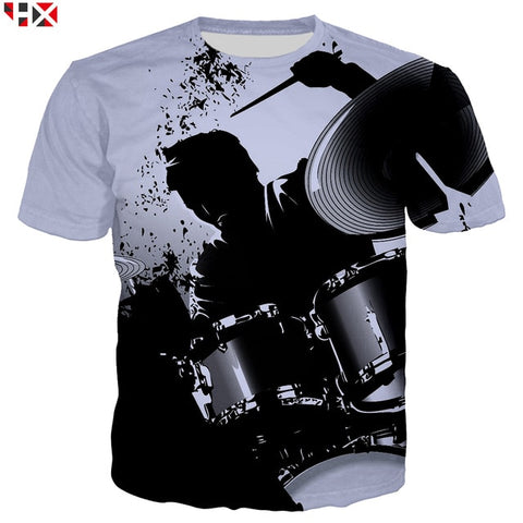 Summer Sale 3D Print 2019 Bass Drum Set Funny T Shirts Unisex High Quality Musical Instrument Men T Shirt Short Sleeve Tops X217