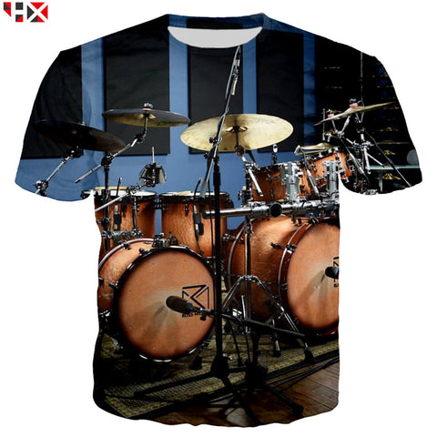 Summer Sale 3D Print 2019 Bass Drum Set Funny T Shirts Unisex High Quality Musical Instrument Men T Shirt Short Sleeve Tops X214