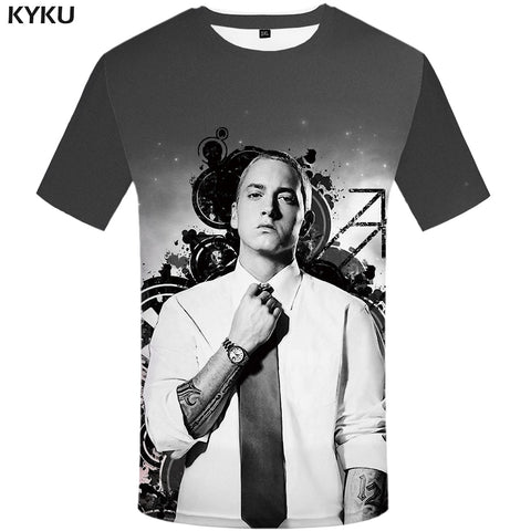 KYKU Eminem T Shirt Men Character Tshirt Music 3d T-shirt Punk Rock Tee Ink Funny T Shirts Cool Mens Clothing 2018 Casual Tops