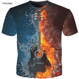 YFFUSHI 2018 Male 3D T shirt Fashion Fire and Ice Print Male /Female T shirt Guitar  Print Heavy Music Band Tee Plus Size 5XL