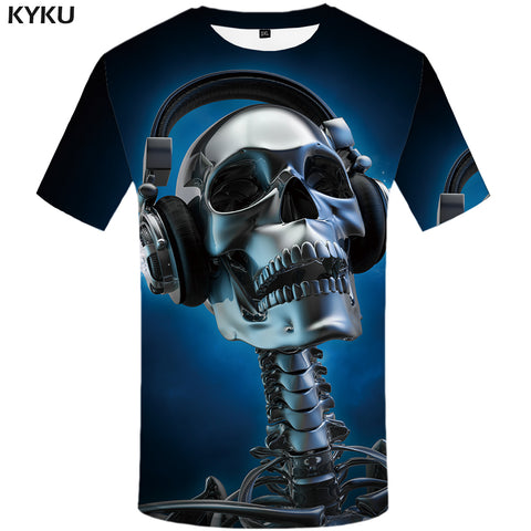 KYKU Skull T-shirt Men Blue Music Tshirt Hip Hop Tee Metal 3d Print T Shirt Punk Rock Casual Mens Clothing Summer Funny T Shirts