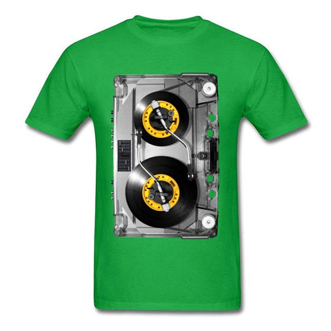 Old School Cassette Tee-Shirt NONSTOP Play Tape T Shirt Electronic Music Rock Tshirts For Men Best Birthday Gift Band T-Shirt