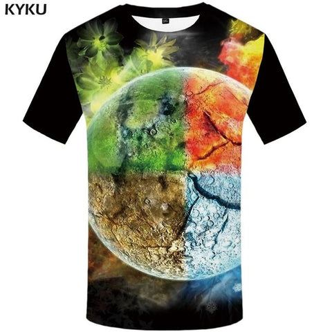 KYKU Flame T-shirt Men Music T-shirts 3d Guitar Tshirts Casual Metal Shirt Print Gothic Anime Clothes Short Sleeve t shirts