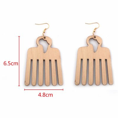 WHOMEWHO Natural Wood Laser Cut Africa Map Comb Hair Barber Earrings Vintage African Afro Jewelry Wooden DIY Ear Club Accessory