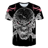 Skull Guitar T shirt Street Fashion Skull Soul Chariot Rock Music Fashion O-Neck Casual Tshirt Homme Top Hip Hop T-Shirt Male