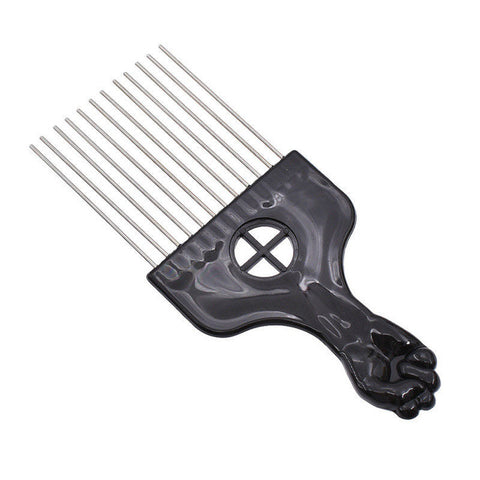 Mayitr 3 Size Black Fist Afro Metal Comb African Hair Pik Comb Brush Salon Hairdressing Hairstyle Styling Tool