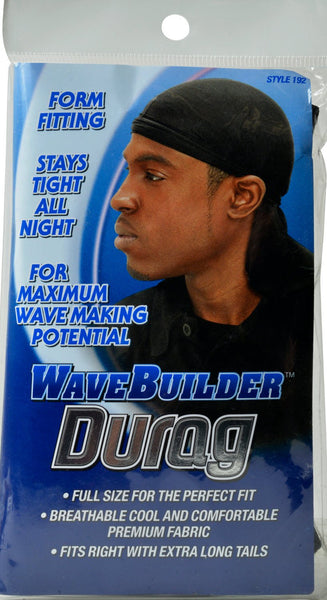 WaveBuilder Premium Stretch Durag for Smooth and Uniform Hair Waves, Black