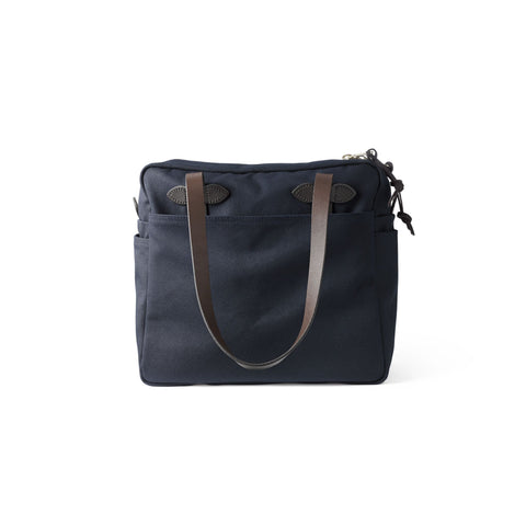 Rugged Twill Tote Bag With Zipper - Navy