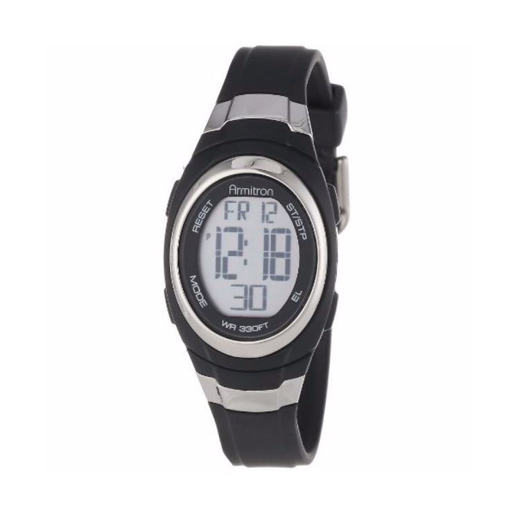 Chronograph Sport Resin Strap Watch- 25MM – Black/Silver