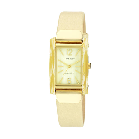 Gold Case + Ivory Leather Strap Watch