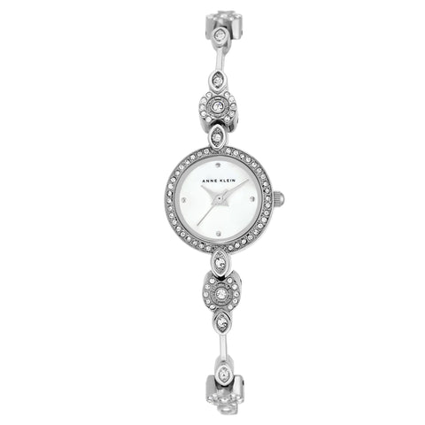 Silver Case + Silver Bangle Swarovski Crystal-Accented Watch