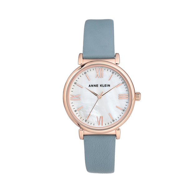Rose Gold with Blue Leather Strap