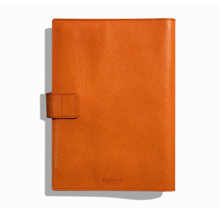 Leather Journal Cover W/ Tab - Bold Orange
