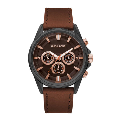 WINSTED - Black IP case + Brown leather watch