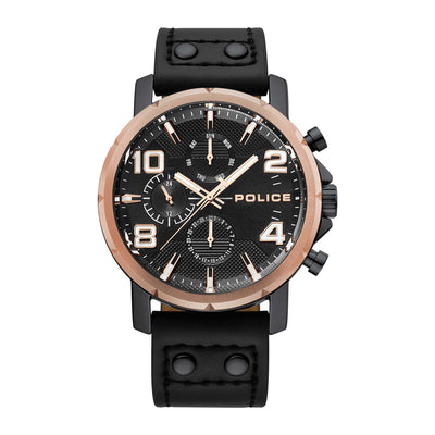 WITMAN - Rose gold bezel + Black leather watch