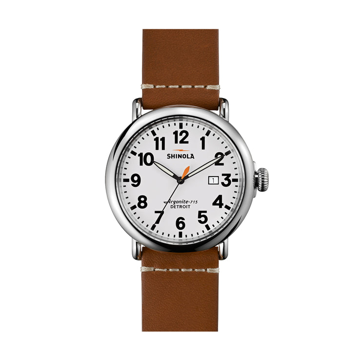 The Runwell 47mm, White/Brown