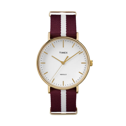 The Fairfield  Nylon Strap - Gold /Red