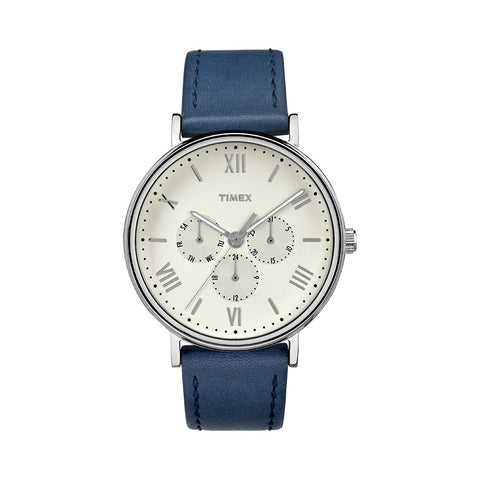 Southview Multifunction Leather Strap - Blue/Silver