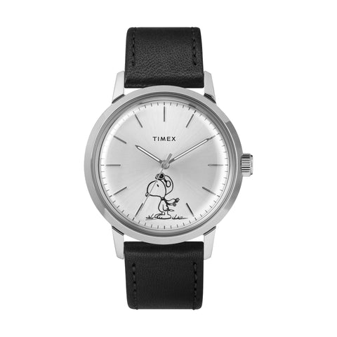 Marlin® Automatic x Peanuts Featuring Snoopy Flying Ace 40mm - Silver-Tone Case, Black Leather Strap