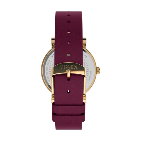 Full Bloom 38mm Leather Strap Watch - Gold-Tone/Burgundy/Pink