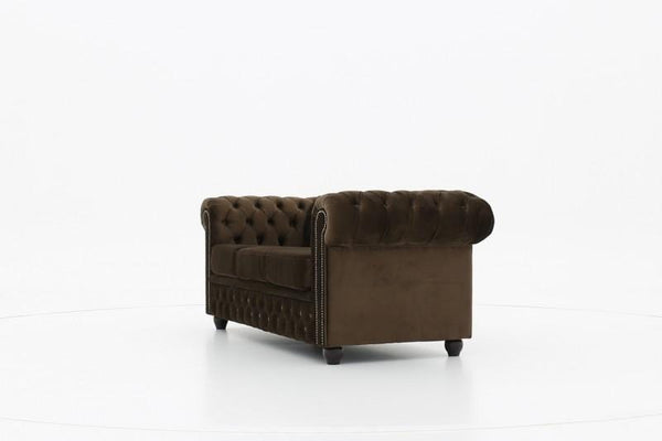 Chesterfield Fabric Velvet Brown 3-seater sofa