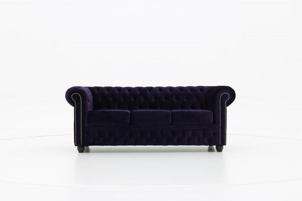 Chesterfield Fabric Velvet Dark Purple 3-seater sofa