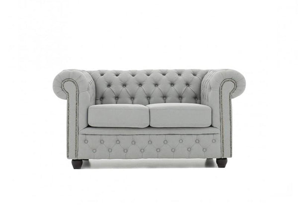 Chesterfield Fabric Pitch Light Gray 2-seater sofa