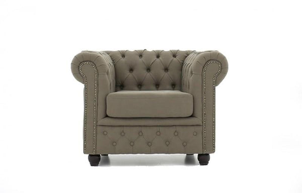 Chesterfield Fabric Pitch Beige Armchair
