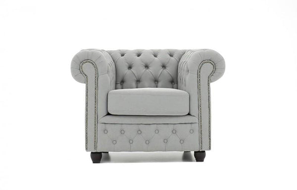 Chesterfield Fabric Pitch Light Gray Armchair