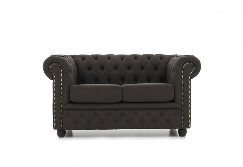 Chesterfield Fabric Pitch Brown 2 Seater Sofa House Of Chesterfield
