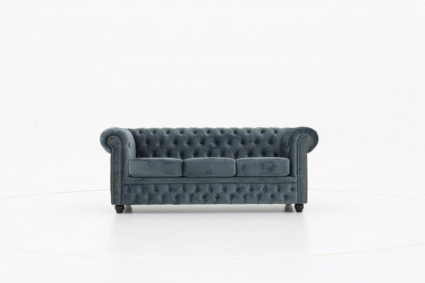 Chesterfield Fabric Velvet Gray 3-seater sofa