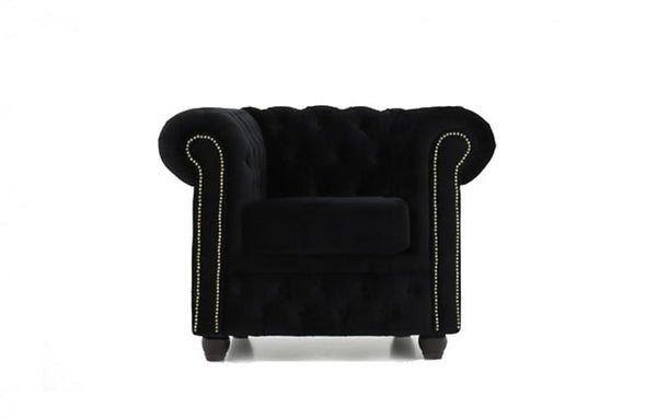 Chesterfield Fabric Velvet Black Armchair