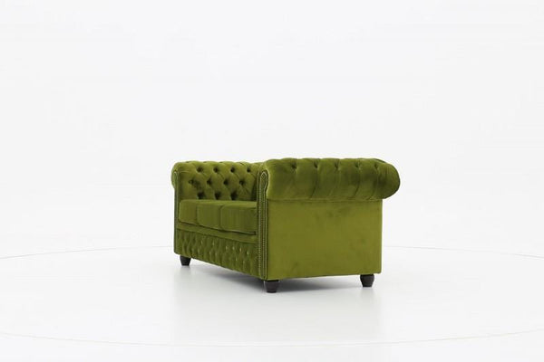 Chesterfield Fabric Velvet Green 3-seater sofa