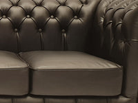 Chesterfield Sofa First Class 2-seater Shiny Black