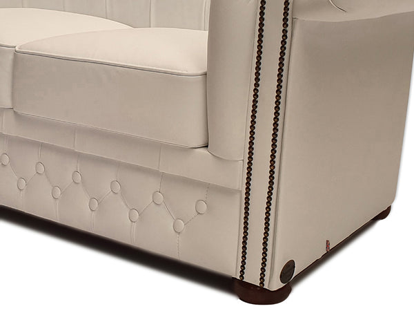 Chesterfield Sofa First Class 2-seater White