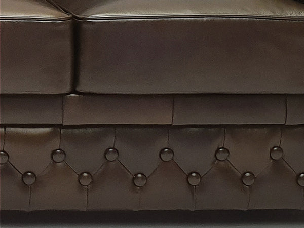 Chesterfield Sofa First Class 2-seater Cloudy Dark Brown
