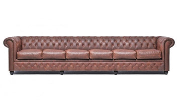 Chesterfield Vintage 6-seat Sofa Brown