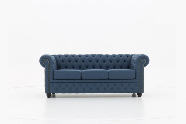 Chesterfield Fabric Pitch Blue 3-seater sofa