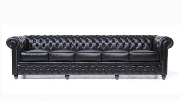 Black Chesterfield 5-seater sofa | 12 year warranty - House of ...