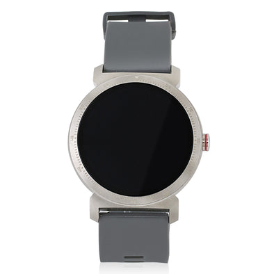 SILVER 43MM ROUND SMART WATCH SILICONE STRAP