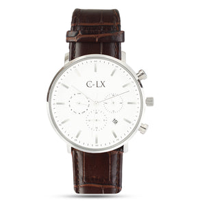Brown Leather White Dial Mens Watch