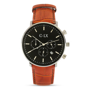 Belmont Tan Leather Black Dial Mens Watch