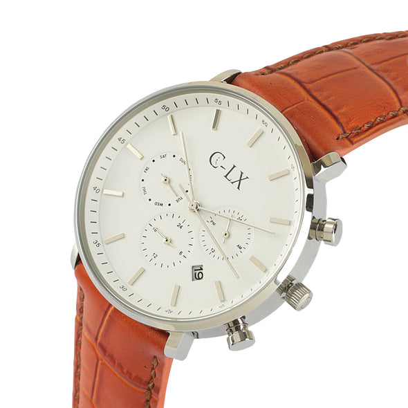 BELMONT TAN LEATHER WHITE DIAL MENS WATCH