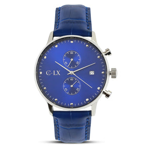 43mm chronograph watch with blue sunray dial. 316L stainless steel case. 22mm Top grain leather band