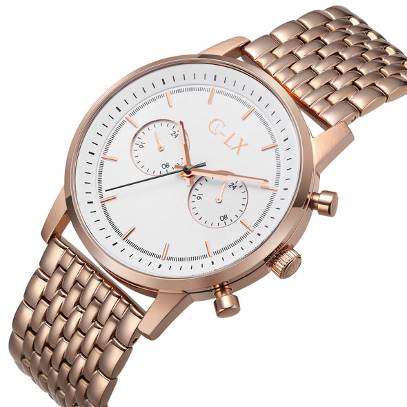 Baldwin 45 Rose Gold Stainless Steel Mens Chronograph Watch