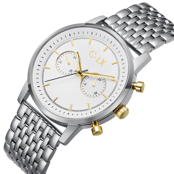 Baldwin 45 Silver and Gold Stainless Steel Mens Chronograph Watch
