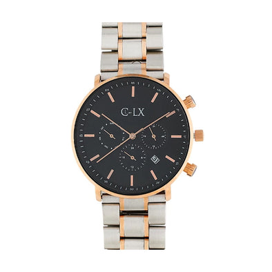 BELMONT ROSEDALE SILVER AND ROSE GOLD MENS WATCH