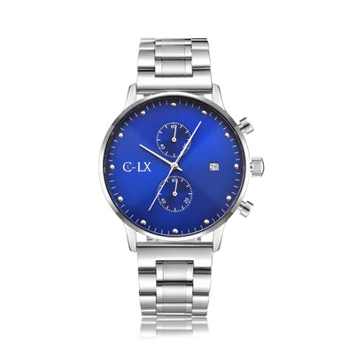 43mm stainless steel band, blue dial with 2 sub dials and date