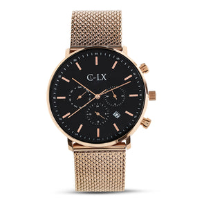Belmont Rose Gold Mesh Band Mens Chronograph Watch