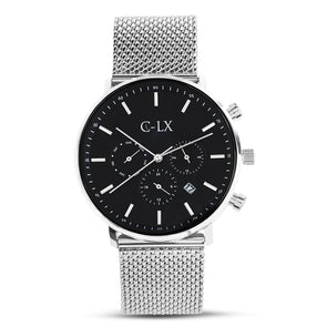 Belmont Key Silver Stainless Steel Mesh Band Mens Watch